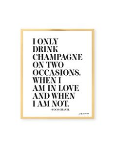 I Only Drink Champagne Print - Bar Cart - Happy Hour - Bar Sign - Champagne