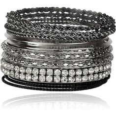 Amazon.com: Lux Accessories Gunmetal Pave Bling Skinny Mesh Multi... ($9.95) ❤ liked on Polyvore featuring jewelry, bracelets, chains jewelry, mesh bangle bracelet, gun metal jewelry, bangle jewelry and bangle bracelet