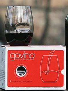 Govino Plastic Wine Glass Flexible Recyclable Shatterproof (Set of 4): govino really means go anywhere you like. This revolutionary vessel designed for the ultimate enjoyment of fine wine actually works well for any cold beverage. The unique ergonomic thumb-notch makes wine swirling most simple and best of all you can reuse them or even recycle them. Click Image For more Details