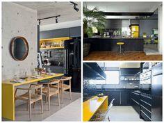 cozinhas em preto e amarelo