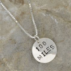 Show off your ultra marathon accomplishment with our beautiful Sterling Silver 100 Miles Hand Stamped Pendant Necklace.  Our sterling silver 100 Miles charm is handmade using our special hand stamping process to create a truly unique running necklace.