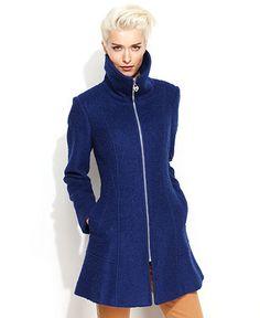 GUESS Coat, Funnel-Neck Boucle