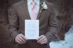 Groomsmen Portrait in Brown Plaid Suit Holding Wedding Invitation