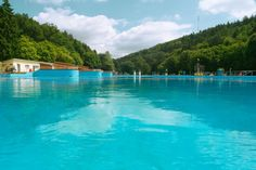 Swimming Pool: Freibad Waschmühle //  This swimming pool is known to be the largest outdoor swimming pool in Germany.  Grab your family & swim suite & let's go swimming! | facebook link: https://www.facebook.com/waschmuehle