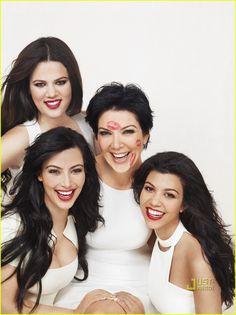 Sharing some family love- Kardashian ladies photo, red lipstick/white ensembles.