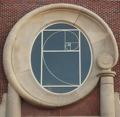 A Fibonacci spiral window at The Women's College of the University of Denver.