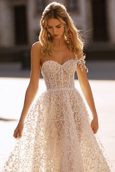 berta spring 2020 bridal one shoulder sweetheart fully embellished beaded a line ball gown wedding dress 15 romantic glitzy princess cathedral train zv Berta Spring Lace Dresses, 15 Dresses, Pretty Dresses, Bridal Dresses, Beautiful Dresses, Dress Outfits, Elegant Dresses, Formal Dresses, Dresses Dresses