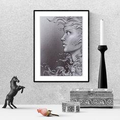 Pencil drawing, woman long hair, last minute gift, printable wall art Woman Drawing, Frame It, Last Minute Gifts, Printable Wall Art, Pencil Drawings, Printables, Long Hair Styles, Prints, Painting