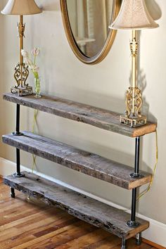 Vintage Furniture Rustic Industrial Furniture Vintage Iron Pipe DIY Hall Table Legs in Home Barn Wood Projects, Reclaimed Wood Projects, Furniture Projects, Diy Projects, Furniture Design, Garden Furniture, Reclaimed Wood Tables, Furniture Online, Office Furniture