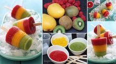 Frozen Mango, Kiwi, Raspberry Pops, recipe here == http://lovecookeat.com/frozen-mango-kiwi-raspberry-pops/