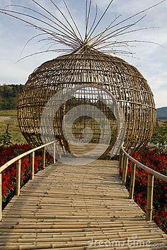 Bamboo sculpture & bridge   Pangmontian, via Dreamstime