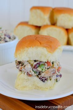 Apple Cranberry Turkey Salad - use your holiday leftovers to enjoy this delicious turkey salad on King's Hawaiian Rolls www.insidebrucrewli...