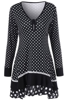 Polka Dot Ruffled Longline T-Shirt - color size Casual Outfits, Fashion Outfits, Womens Fashion, Fashion Clothes, Fashion Site, Fashion Online, Modelos Plus Size, Maternity Tops, Plus Size Fashion