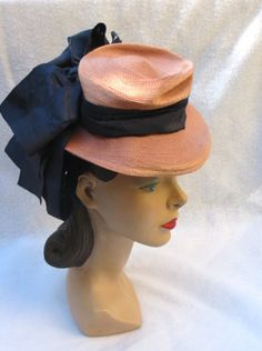 1940's Vintage Tilt Hat with Big Bows May by MyVintageHatShop, $35.00