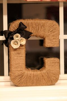 Twine/yarn wrapped letter