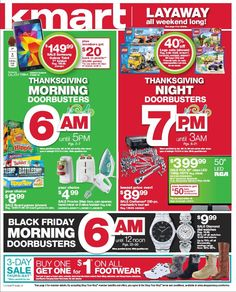 The Kmart Black Friday Ad 2014 has been leaked! Kmart will be opening on Thanksgiving Day at 6 a. through 5 p. on Thanksgiving. Black Friday Ads, Black Friday Specials, Best Black Friday, Free Printable Coupons, Sale Flyer, Holiday Deals, Off Sale, Shopping Hacks, Shopping Deals