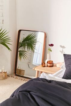 bedroom with big mirror