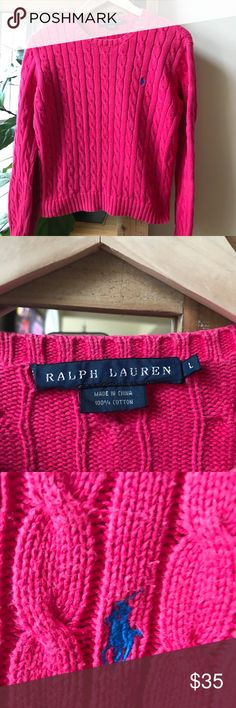 Polo Ralph Lauren sweater Gorgeous Magenta crew neck sweater size L Cotton cable knit gently used Polo by Ralph Lauren Sweaters Crew & Scoop Necks