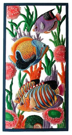 """Tropical Fish Wall Hanging - Outdoor Wall Art - Hand Painted Metal Tropical Home Decor - Caribbean Style Art - 17"""" x 35"""" - K-7300 by TropicAccents on Etsy"""
