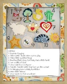 Different pictures to represent a song to sing for toddlers.