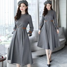 Buy Dowisi Mock Two-piece Mesh Panel Long-Sleeve Knit Dress Stylish Dresses, Modest Dresses, Elegant Dresses, Beautiful Dresses, Casual Dresses, Fashion Dresses, Pakistani Dress Design, Pakistani Dresses, Indian Designer Outfits