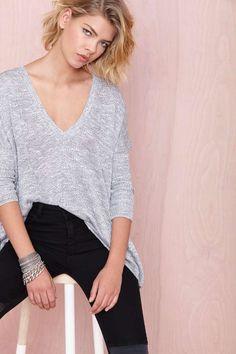 Nasty Gal So Far So Good Sweater - Grey