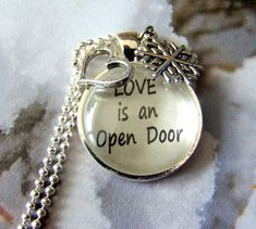"Disney's ""Frozen"" Inspired Love is an Open Door Necklace, Frozen Necklace, Disney Frozen Jewelry, Anna and Hans, In Summer, Snowflake Charm on Etsy, $14.95"