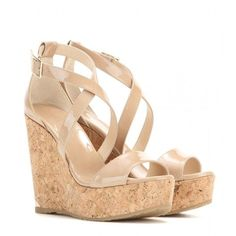 Jimmy Choo Portia Patent Leather Wedge Sandals ($390) ❤ liked on Polyvore featuring shoes, sandals, wedges, heels, chaussures, beige, wedges shoes, beige patent leather shoes, patent sandals and beige wedge shoes