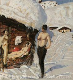 Alfons Walde - Nackte vor der Almhütte #2 Gouache, Ski Posters, Vintage Ski, New Art, Illustration, Skiing, Austria, Artist, Paintings