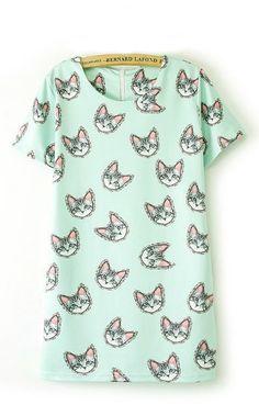 Cute Cats Printing O-neck Short Sleeves Shift Dress