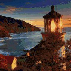 Oregon Coast Heceta Head Lighthouse at Sunset landscape Cross Stitch pattern PDF - Instant Download! by PenumbraCharts on Etsy