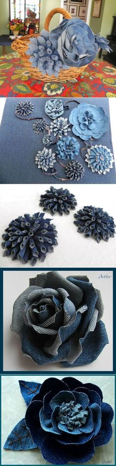 Technique for creating denim flowers from scraps of recycled denim. Those dahlias are beautiful! Denim Flowers, Faux Flowers, Fabric Flowers, Paper Flowers, Jean Crafts, Denim Crafts, Fabric Crafts, Sewing Crafts, Sewing Projects
