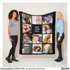 Shop Personalized 11 Photo Collage Fleece Blanket created by special_stationery. Personalize it with photos & text or purchase as is! Picture Blanket Personalized, Personalised Blankets, Photo Blanket, Dog Blanket, Textiles, Square Photos, Trendy Kids, Edge Stitch, Outdoor Events