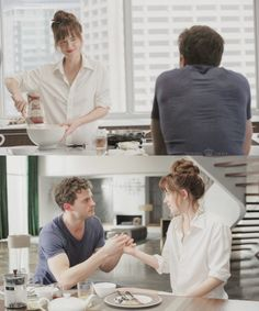 Fifty Shades Of Grey. The morning after, making pancakes. 50 Shades Trilogy, Fifty Shades Series, Fifty Shades Movie, Fifty Shades Darker, Anastasia 50 Shades, Cristian Grey, Shades Of Grey Movie, Dakota Johnson Style, Mr Grey