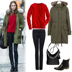How to wear red + green right now rojo + negro + parka verde