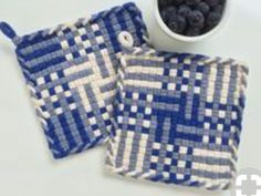 Woven Fabric Potholder Set All Cotton Blue Steel / State Blue Ivory Hand Dyed Loops Shabby Chic Kitchen Decor Gift Hot Pad Coaster Trivet USD) by JemmaJamma Weaving Loom Diy, Loom Craft, Hand Weaving, Tablet Weaving, Potholder Loom, Potholder Patterns, Crochet Patterns, Weaving For Kids, Shabby Chic Kitchen Decor