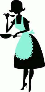 View Design: retro lady cooking - would be cute as a framed silhouette for kitchen.