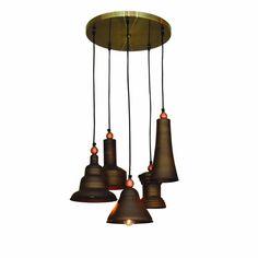Vintage lamp met 5 verschillende vormen in bruin brons 40cm diameter