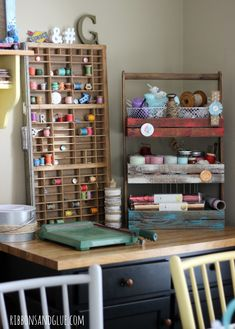 How to create a vintage inspired craft room using vintage storage items and decor. Love the vintage printer press tray to hold spools of thread! Craft Room Decor, Craft Room Storage, Craft Organization, Craft Rooms, Home Decor, Small Sewing Space, Sewing Spaces, Sewing Rooms, Vintage Storage