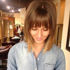 Sombre shoulder length with soft bangs by McKenzie. #colorexpert #color #blonde #melt #ombre #balayage #seasonssalon #utahhairstylist