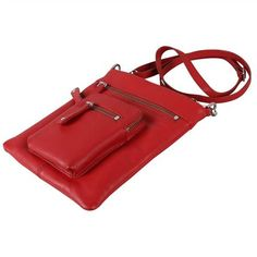 Karla Hanson - Red Crossbody Bag - $79.00/each This Ladies Fashion Crossbody Bag is made from cow leather with a silver finish, approximately 18.5 x 22 cm. Presented by www.ecomcreator.com