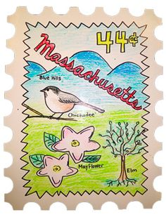 Integrate social studies and art by creating a state stamp. This example is used in a fourth grade classroom. Students would research state bird, flower, tree, etc. They would create a stamp that includes all of these things.