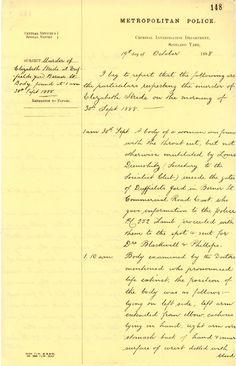 Jack The Ripper: Metropolitan police report # 148, dated 19 October 1888, about the murder of Elizabeth Stride (Jack the Ripper's 3rd confirmed victim, murdered 30 September 1888)