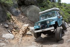 This Jeepster Commando brings various parts together for a great, retro cool end product. Jeep Garage, Jeep Jeep, Jeepster Commando, Jeep Scrambler, Blue Jeep, Off Roaders, International Scout, Expedition Vehicle