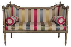 19th-C. Striped Love Seat   Vintage Decor   One Kings Lane