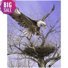 DIY The eagle's nest home decor diamond embroidery crafts diamond painting cross stitch needlework diamond mosaic square Eagle Nest, Eagle Bird, Wildlife Paintings, Wildlife Art, The Eagles, Bald Eagles, Nicolas Vanier, Eagle Drawing, Drawing Art