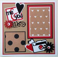 Couples premade scrapbook page - Boyfriend scrapbook layout - Valentines Day scrapbook page - Engagement scrapbook layout