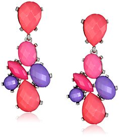 Opaque Oval and Posted Pink Teardrop Earrings. Drop earring featuring cluster of faceted marquis, teardrop, round, and oval-shape beads. Post with friction backing. Imported.