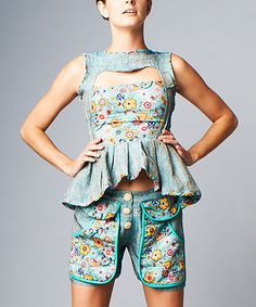 Look what I found on #zulily! Nuvula Teal & Yellow Floral Pocket Shorts by Nuvula #zulilyfinds
