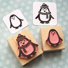 chilly penguin hand carved rubber stamp by skull and cross buns | notonthehighstreet.com